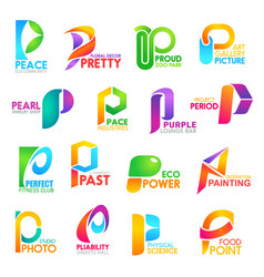 P letter corporate identity company icons vector