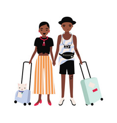 Pair of african american and girl dressed vector