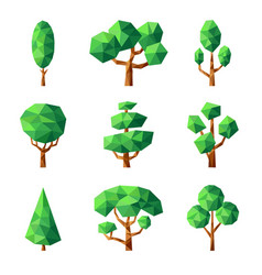 poly tree green nature season plants vector image