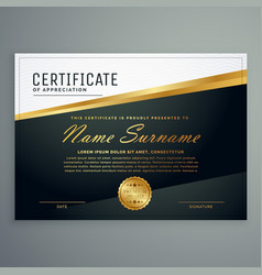 premium certificate design with golden stripe vector image