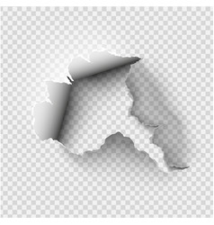 Ragged hole torn in ripped paper on transparent vector