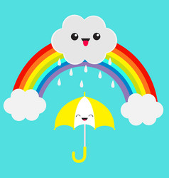 Rainbow cute cartoon kawaii cloud with rain drops vector