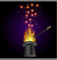 realistic magic wand with fire flame vector image
