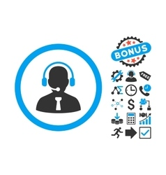 Reception Operator Flat Icon with Bonus vector image vector image