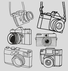 Retro camera vintage doodle hand-drawn collection vector