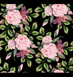 rose flower blossom leaf seamless pattern vector image