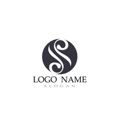 s logo line template font vector image