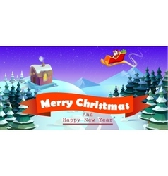 Santa Claus on sleigh and his reindeers Winter vector image