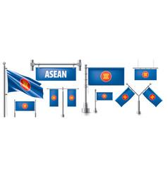 Set national flag asean vector