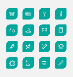 Set of 16 editable science icons line style vector