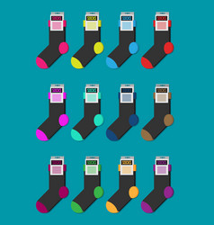 set of colorful socks flat ilustration vector image