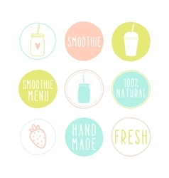 Set of different smoothie labels vector image