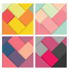 set of square colorful retro background vector image