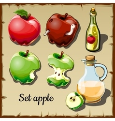 Set red and green apples and drinks them vector