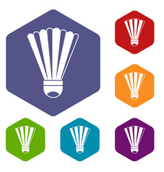 shuttlecock icons set vector image