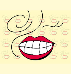 Smiling emoticon with happy eyes and rosy cheeks vector