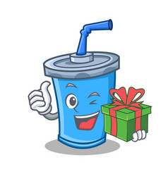 Soda drink character cartoon with gift vector