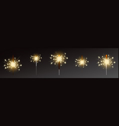 sparklers set realistic flares with flames vector image