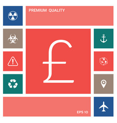 sterling symbol icon elements for your design vector image