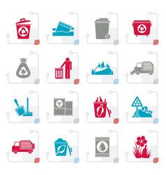 Stylized garbage and rubbish icons vector