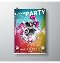 Summer Beach Party Flyer Design with speakers vector image