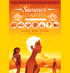 summer party invitation flyer design sea beach vector image