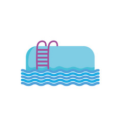 Summer pool with stairs fill style vector