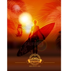 Surfer girl on sea background vector
