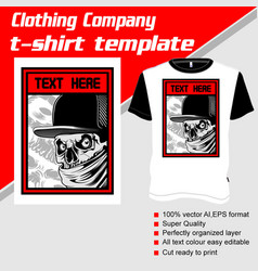 T-shirt template fully editable with gangster vector