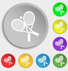 tennis icon sign Symbol on eight flat buttons vector image