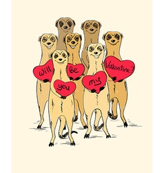 Valentines Day Card With Funny Meerkats vector
