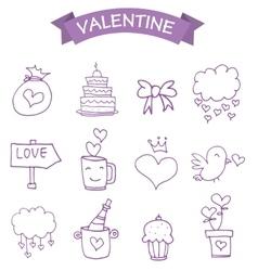 Vetcor of valentine icons vector image