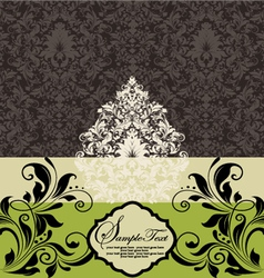 wedding card on damask background vector image