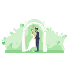 Wedding ceremony couple altar marriage vector