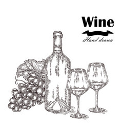 Wine bottle with two glasses and grapes vector