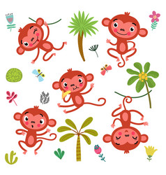 5 cute monkeys vector image vector image