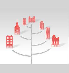 a 3d paper city skyline road vector image