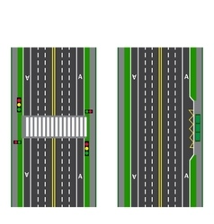 A set of road sections Stop Transition Bicycle vector image vector image