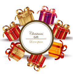 christmas realistic gift card isolated on white vector image vector image