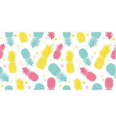 Colorful pineapples summer tropical vector
