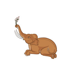 elephant in thai traditional painting vector image vector image