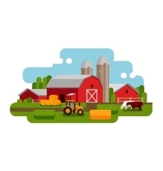 Flat of a farm landscape vector image