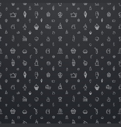 large seamless black pattern with white elements vector image vector image