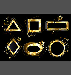 set of polygonal golden banners vector image vector image