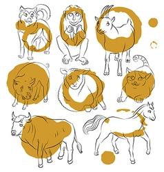 Bull cat dog goat horse monkey pig sheep vector
