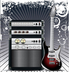 Guitar Combo music background vector image
