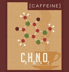 retro poster of caffeine molecule vector image