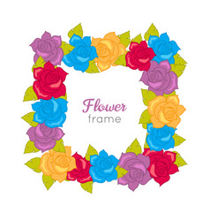 Squar wreath of different blossoms vector
