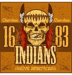 American native chief skull - vintage vesign vector image
