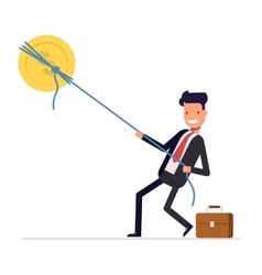 Businessman or manager pulling rope tied to a coin vector image vector image